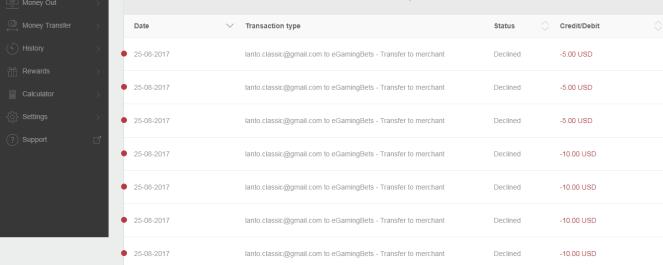 Neteller - Delined transfer to merchant site